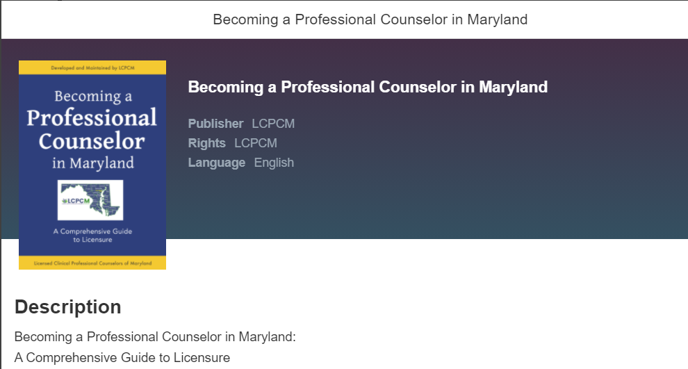 Becoming a Professional Counselor in Maryland